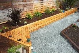 Pleasant Vegetable Garden Along Fence And Raised Bed Against Fence Garden Ideas Pinterest Rai Backyard Landscaping Landscaping Along Fence Garden Seating