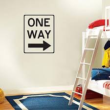 Amazon Com One Way Road Sign Kids Room Decor Wall Decal 14 X 5 Home Kitchen