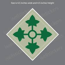 4th Infantry Division Army Military Bumper Sticker Window Car Decal