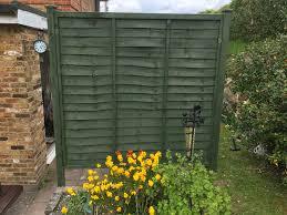 Cuprinol Woodland Green Colour On Fence Backyard Fences Fence Design Front Yard Fence