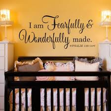 Battoo Fearfully And Wonderfully Made Decal Bible Verse Vinyl Wall Decal Scripture Wall Decal Nursery Decal For Girls Boys Bedroom Vinyl Wall Decal 16 W By 11 5 H Teal Wall Decor Room