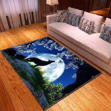 Moon Wolf 3d Carpet Modern Colorful Rug Bedroom Kids Room Play Mat Carpet Area Rugs Large Carpet For Living Room Home Decorative Carpet Aliexpress