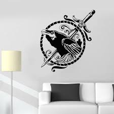 Black Raven Symbol Sword Gothic Style Bird Vinyl Wall Decal Home Decor Living Room Art Mural Removable Wall Stickers Wall Sticker Removable Wall Stickersvinyl Wall Decals Aliexpress