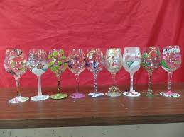 hand painted wine glasses m a