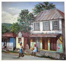 "OIl Painting of small shops in rural Jamaican town with fruit vendor and  others by Webster Campbell. It is framed and is 24"" x… 