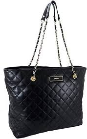 quilted logo leather large tote black