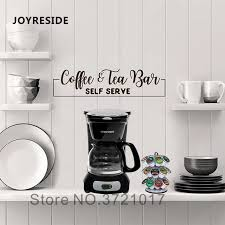 Joyreside Coffee Tea Wall Decals Home Kitchen Art Design Wall Sticker Coffee Bar Quotes Vinyl Wall Decal Kitchen Wallpaper Wm233 Wall Stickers Aliexpress