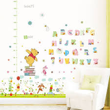 Super Promo 79aa59 Cartoon Winnie Pooh Height Measure Wall Stickers Bedroom Home Decor Disney Animals Growth Chart Wall Decals Pvc Mural Wallpaper Cicig Co