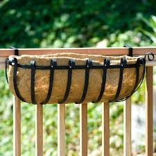 Windowbox 24 Inch Xl Scroll Railing Planter W Xl Coco Liner And Bracket Pair For 2x6 Wood Railing Garden Outdoor Cjp Org In