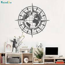 Vinyl Wall Decal Map Of World Compass Travel Globe Earth Home Decor For Living Room Posters Self Adhesive Art Murals Yt895 Wall Stickers Aliexpress