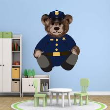 Vwaq Police Cop Teddy Bear Wall Decal Kids Room Sticker Decorations