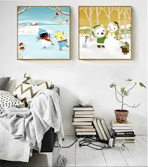 Nordic Style Simple Spray Painted On Canvas Snowman Snowman Partner Paintings Decoration For Kids Room Wall Pictures No Framed Room Spray Spray Painting Canvaspicture For Wall Aliexpress