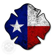 Texas Flag Maltese Tattered 4 Sticker Fireman Up