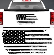 Matte 2nd Amendment Distressed American Flag Window Decal Jeep Ford Chevy Dodge Wish