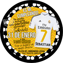 Real Madrid Invitaciones Infantiles Invitaciones Cumpleanos