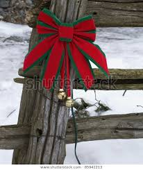 Christmas Decorations On Old Wooden Fence Stock Photo Edit Now 85942213