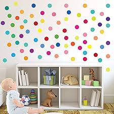 Amazon Com Parlaim Rainbow Multi Size Polka Dot Wall Decals Peel And Stick Wall Stickers Perfect For Kids Room Living Room Bedroom Multicolor 2 Inch X 60circles Toys Games