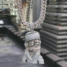 diamond studded chain cartoon face fine