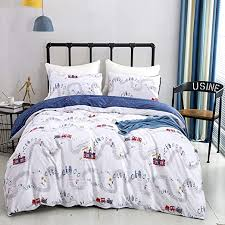 Amazon Com Karever White And Blue Comforter Set Queen Kids Travel Train Theme Down Alternative Comforters Railway Station Pattern Printed Bedding Full For Children Teen Boy Microfible Insert Home Kitchen