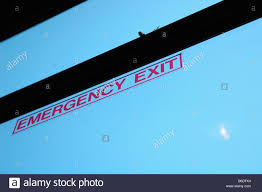 Emergency Exit Decal Sign On The Window Of A Bus Jitney Copy Space Stock Photo Alamy