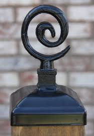 Spiral Post Cap For 4x4 Fence Post Wrought Iron Fence Decor Etsy Fence Decor Wrought Iron Fences Post Cap