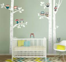 Birch Trees And Owls Wall Decal Sticker Nursery Kids Forest Trees Wall Decal Ebay