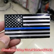 3 2 X 1 75 Thin Blue Line American Flag Thick Aluminum Alloy Metal Sticker Decal For Car Truck Suv In Support Of Police Officers And Law Enforcement Wish