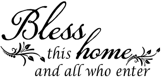 Amazon Com Decaltor Bless This Home And All Who Enter Vinyl Wall Decal Entryway Living Room Decor Art Letters Quotes Stencil Home Kitchen
