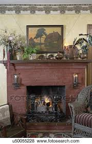 crafts living room red brick fireplace