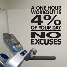 No Excuses Workout Room Vinyl Wall Decal A One Hour Workout Is 4