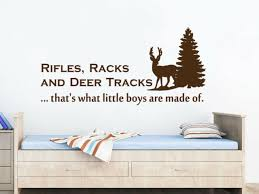 Wall Decal Quote Rifles Racks And Deer Tracks Vinyl Sticker Boys Bedroom Nv241 Ebay