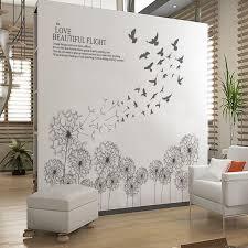 Grey Dandelion Flower Wall Stickers Decals Plants Wall Arts Wallpaper Ellaseal