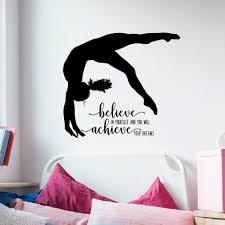 Amazon Com Gymnastics Quote Wall Decal Dance Studio Decor Gymnast Vinyl Sticker 36 X32 Black Gymnast Gift Handmade