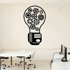 Light Bulb Office Wall Decal Team Work Gears Office Vinyl Wall Decor Idea Creative Creativity Inspiration Wall Sticker Lz26 Wall Stickers Aliexpress
