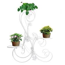 3 tiered white scroll decorative metal