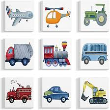 Amazon Com Stupell Industries Plane And Automobile Transportation Illustrations Canvas Wall Art 9pc Each 12 X 12 Multi Color Paintings