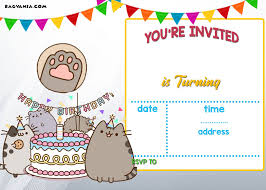 Free Printable Pusheen Birthday Invitation Template Cumpleanos