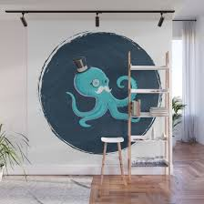 Gentleman Octopus Wall Mural By Franskuz Society6