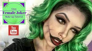 glam female joker make up tutorial