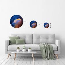 Sunset Red And Blue Ocean Wave Wall Art Sea Beach Decor Nautical Circl Smile Art Design