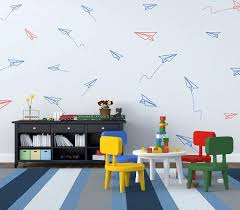 Paper Planes Wall Pattern Vinyl Decal Kids Room By Fabdecals Kids Playroom Wall Art Boys Room Decor Playroom Wall Art