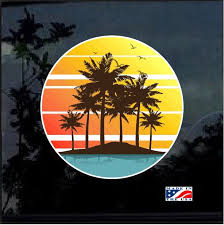 Hawaii Hawaiian Palm Trees Full Color Decal Sticker Custom Sticker Shop