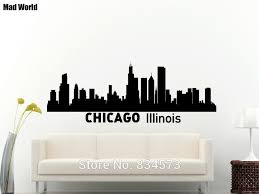 Mad World Chicago Skyline City Silhouette Chicago Wall Art Stickers Wall Decal Home Diy Decoration Removable Decor Wall Stickers Wall Sticker Decorative Wall Stickerswall Art Stickers Aliexpress