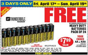 free heavy duty battery 24pk at harbor