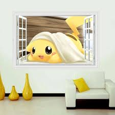 Cute Pikachu Window Wall Stickers For Kids Rooms Home Decorations Pokemon Wall Decal Aminatio Pokemon Wall Decals Kids Room Wall Stickers Pokemon Wall Stickers