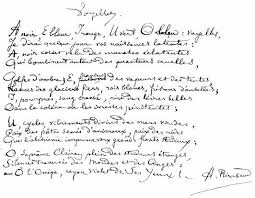 MANUSCRITS   Rimbaud poeme, Lettres manuscrites et Manuscrit