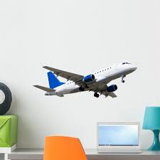 Passanger Airplane Over White Wall Decal Sticker By Wallmonkeys Vinyl Peel And Stick Graphic 24 In W X 8 In H Walmart Com Walmart Com