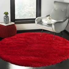 Circle Round Soft Thick Shaggy Rug Kids Living Room Bedroom Carpet Floor Mat Red Ebay