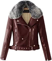 faux fur collar pu leather fleece lined