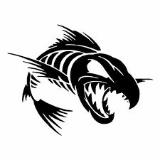 Black Silver Fish Bone Car Sticker Shark Skull Animal Decal Removable Waterproof Rear Window Decor Cl442 Car Stickers Aliexpress